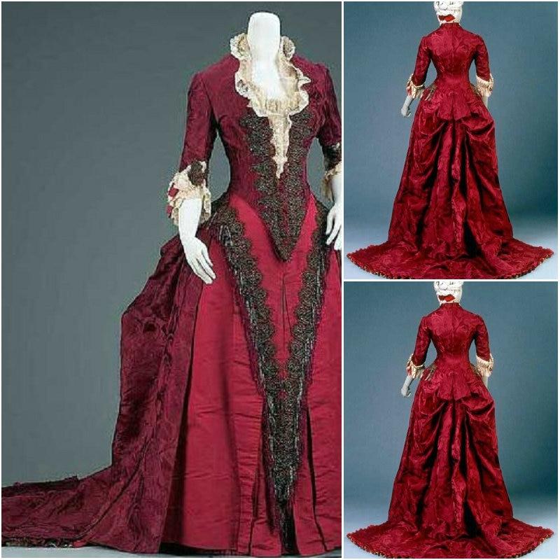HistoricalBrown Vintage Victorian Dresses 1860s Scarlett Civil War Southern  Belle dress Marie Antoinette dresses US4-36 C-843 9cf78af84c0e