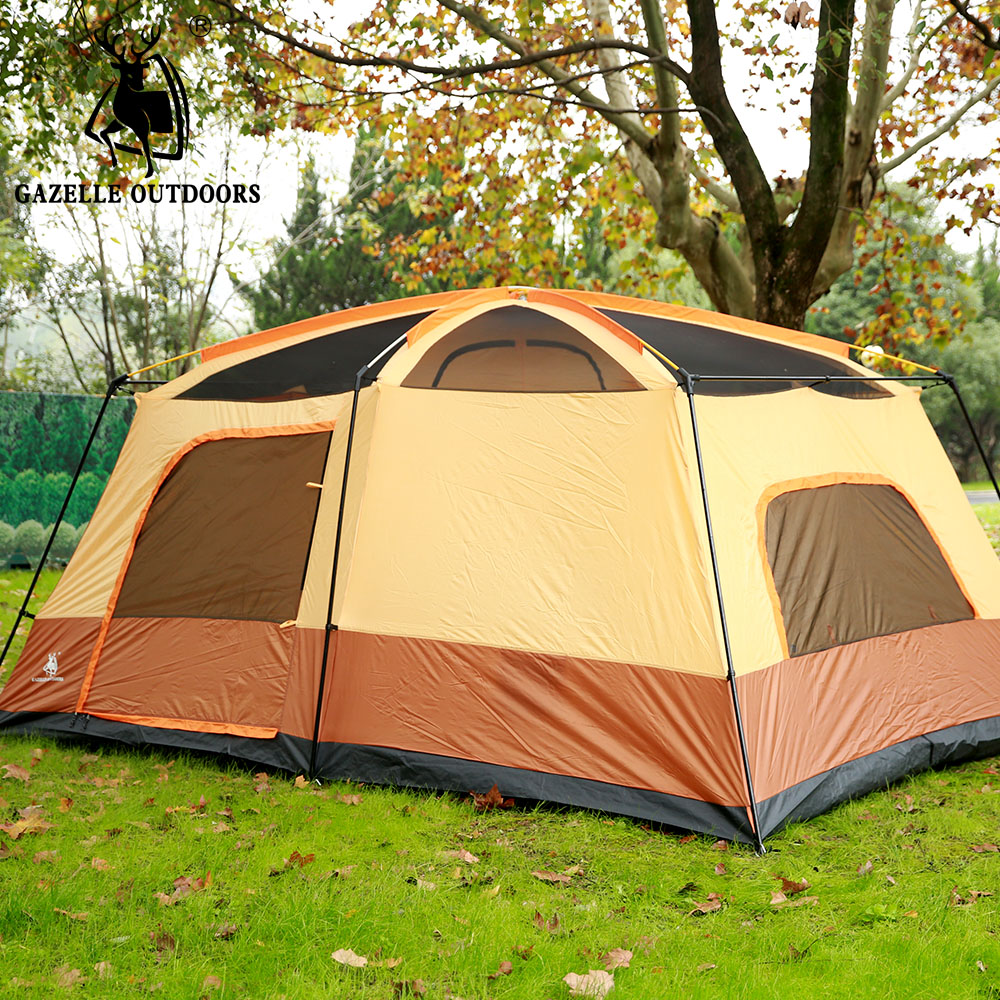 Large Camping Tent Double Layer Family Tent Waterproof Gazebo 6-8person Fishing Tent Awning 2 room 1 hall Sun shelter alltel high quality double layer ultralarge 4 8person family party gardon beach camping tent gazebo sun shelter
