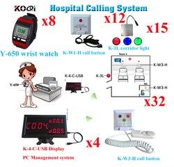Equipamentos Hospitalares Enfermeira Chamada sem fio Pager Sistemas Com Segurança Mostrador do Relógio Pager Chamada Puxar Botão a Luz Do Corredor