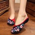 Новый летний Китайский Стиль бутик персик вышивка Мода сексуальные женщины сандалии обувь Досуг Комфорт дамы тапочки