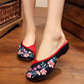 New summer Chinese Style boutique peach embroidery Fashion sexy women sandals shoes  Leisure Comfort ladies slippers