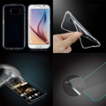 2IN1 Slim Soft TPU Glossy Case with Tempered Glass Film clear Screen Cover For Samsung Galaxy S4 S5 S6 S7 Edge Plus Note 3 4 5 7