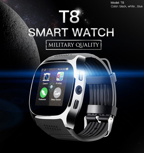 Hot T8 Intelligente Orologio Bluetooth Con La Macchina Fotografica del Giocatore di Musica Facebook Whatsapp Sync SMS SIM carta di Tf di Sostegno Smartwatch Per Android ECC