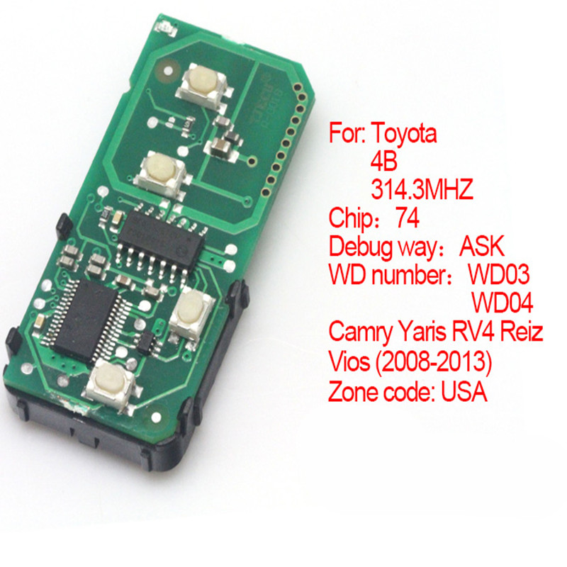 4 Button Smart Remote Board 314 3MHz with Chip 74 for Toyota 2008 2013 Camry Reiz