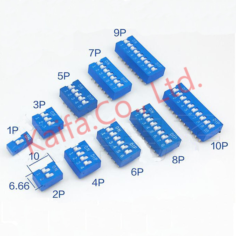 10pcs/lots blue Direct dial code switch DIP switch DP-1P/2P/3P/4P/5P/6P/7P/8P/9P/10P 2.54MM DS pitch Side 10pcs dip switch slide type red 2 54mm pitch 2 row dip toggle switches 2p 3p 4p 5p 6p 8p 10p free shipping