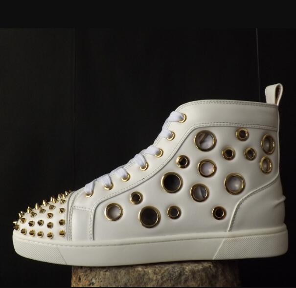 Follwwith Brand zapatos de hombre High Top Cut-outs Trainers Sapatos Men Casual Shoes Lace Up Flats Gold Rivets Shoes Mens 2016 hot low top wrinkled skin cockles trainers kanye west chaussure flats lace up mens shoes zapatos mujer casual shoes