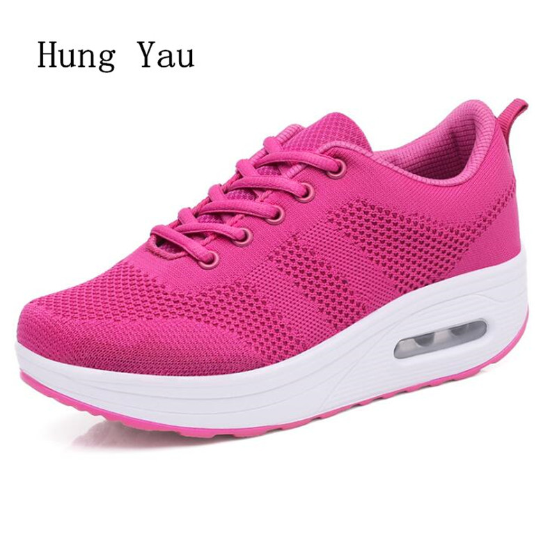 Women shoes 2018 Summer Woman Platforms Shoes Women Retro Shoes Lace-Up Casual Shoes Flats Height Increasing Boots Mesh women shoes 2018 summer breathable mesh shoes fashion flats hot sales women footwear high quality lace up mesh casual shoes