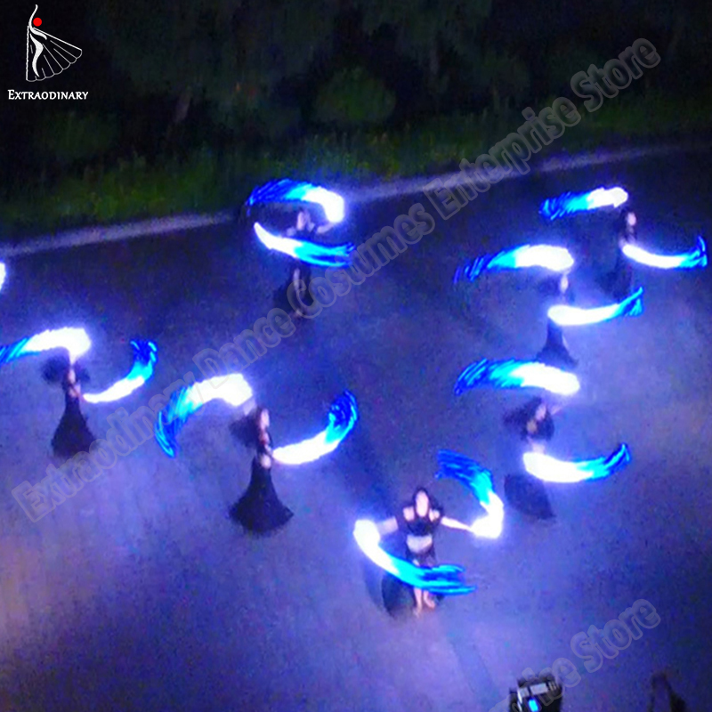 Image 2 - Led Silk Fan Veil Bellydance Fan Veils Silk LED Light Show White Blue Prop Accessories Belly Dance Stage Performance-in Belly Dancing from Novelty & Special Use