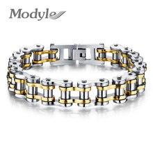 Modestilo motociclista pulseira de aço inoxidável 316l, joia esportiva e casual com corrente de bicicleta, joia para homens