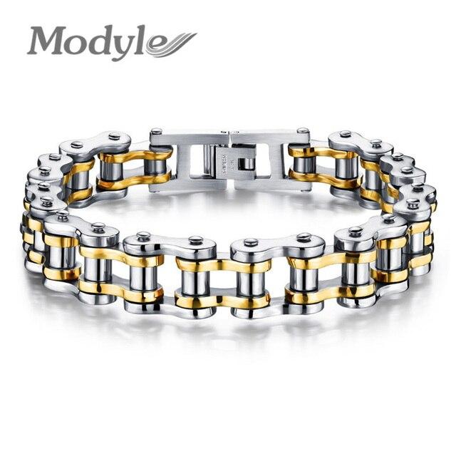 Modyle Biker 316L Stainless Steel Mens Bracelet Fashion Sports Jewelry Bike Bicycle Chain Link Bracelet Casual Jewellery