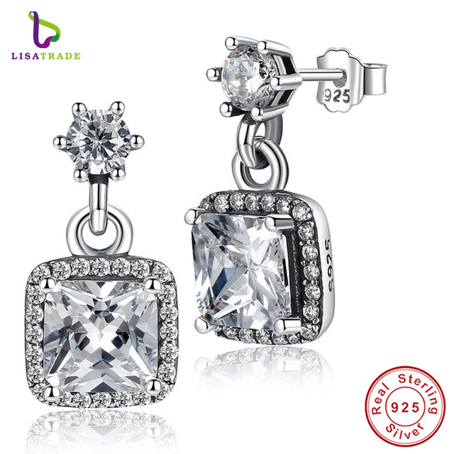 New 100% 925 Sterling Silver Asscher & Round Cut Timeless Elegance, Clear CZ Stud Earrings Wedding Fine Jewelry PAS459