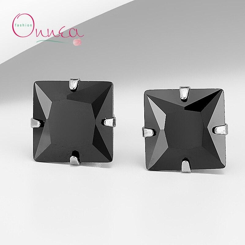 Onnea Fashion Men Black CZ Cubic Zircon Claw Stud Earrings Fashion Crystal Man Brincos Jewelry Accessories 6mm