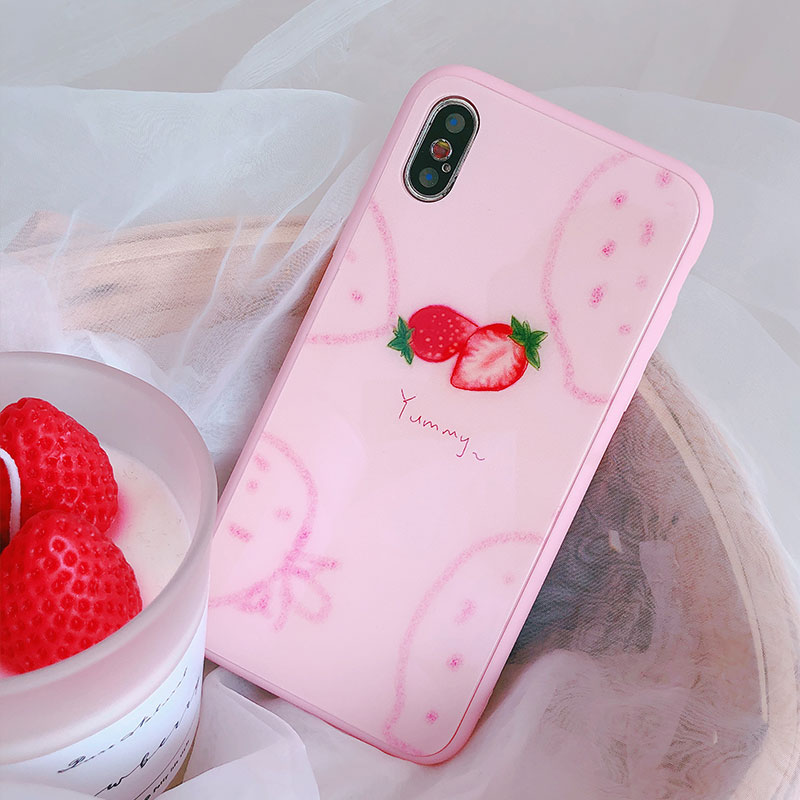 Pink Strawberry Phone Cases For Apple iPhone 7 Case Tempered Glass Fitted Back Cover For iPhone 6 Plus 6S 7 8 Plus X Coque Case