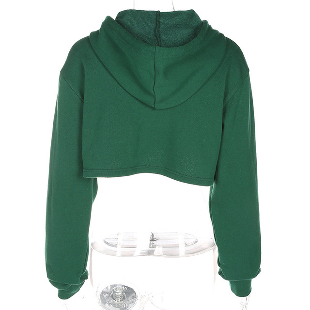 DOUBLE Letter Embroidery Cropped Hoodies Sweatshirt 5