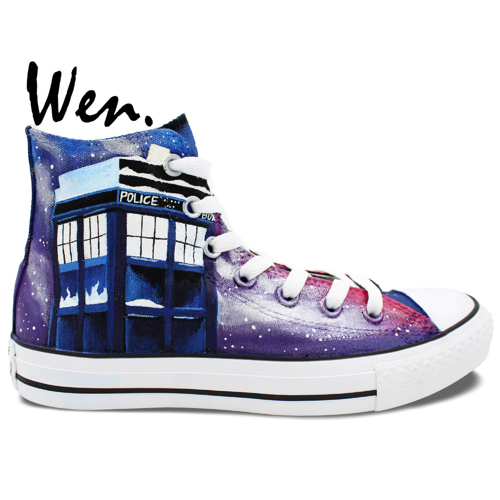 01a9b06dc460d US $59.2 20% OFF|Wen Hand Painted Shoes Design Custom Sneakers Dalek  Weeping Angel Large Tardis Doctor Who Men Women's High Top Canvas  Sneakers-in ...