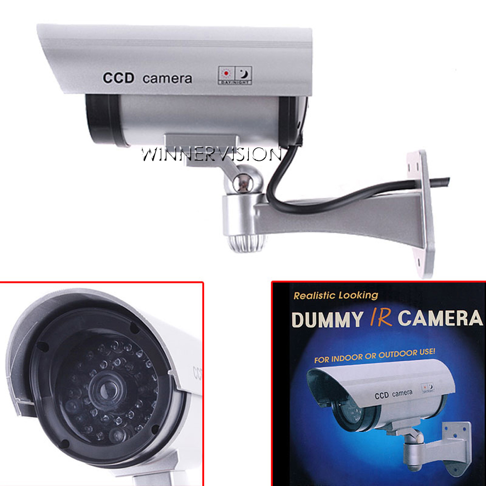 Realistic Looking Dummy Camera Security CCTV Bullet fake Camera Outdoor Waterproof Flash IR LED Light Emulational Camera image