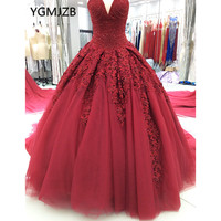 Luxury Princess Wine Red Wedding Dresses 2018 New Ball Gown Sweetheart Beaded Crystal Appliques Long Train