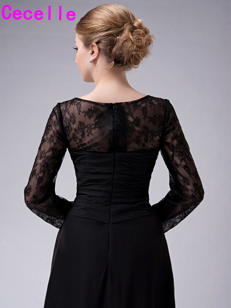 dd5e6a2f71 Black Long Floor Length Lace Chiffon Modest Mother Of The Bride Dresses  With Long Sleeves Sheer Neck Mother s Formal Gowns 2017-in Mother of the  Bride ...