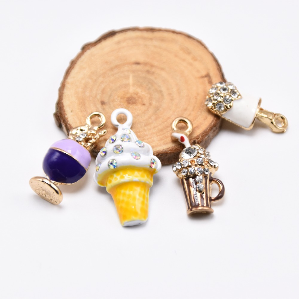 MRHUANG 10pcs/pack Cool Beverages Ice-cream Drink Enamel Charms Metal Pendant fit Necklace bracelet DIY Jewelry Accessory
