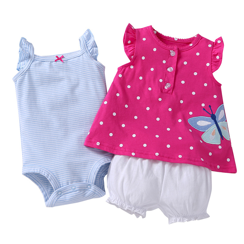 2018 Baby Rompers Summer Baby Girl Clothing Sets Cotton Baby Girl Clothes Cute Newborn Clothes Roupas Bebe Infant Jumpsuits