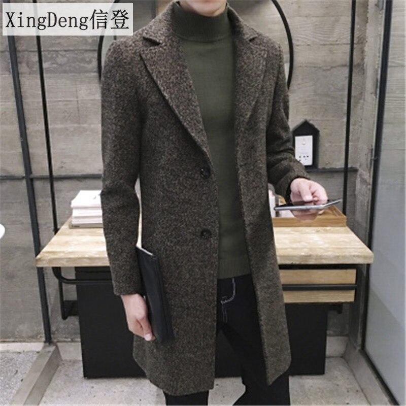 XingDeng Men's Spring Autumn Thick Wool   Trench   fashion warm Coat Men Long Casual Coats Lapel Collar Overcoat Plus Size 5XL