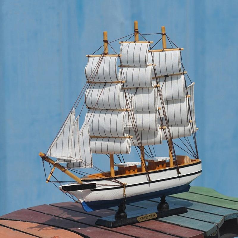 New 2018 Wooden Boat Model Desktop Decoration Wooden Sailing Ship Model European Mediterranean Multi Mode 24 -30 Cm Wood Ship