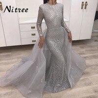 Muslim Evening Dresses Arabic Formal Dress Detachable Skirt 2017 Unique Bling Sequins Long Prom Dress Dubai Gown Abendkleider