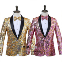 Stage Outfit 2019 Fancy Sequin Suit Green Collar Collar Coat Prom Suits Men S Blazers