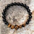 10 pcs Preto Ágata Beads Elastic Pulseira Pedra Olho de Tigre Pedras Naturais Pulseiras de Contas Para Os Homens Amantes Pulseira Pulseras Hombre
