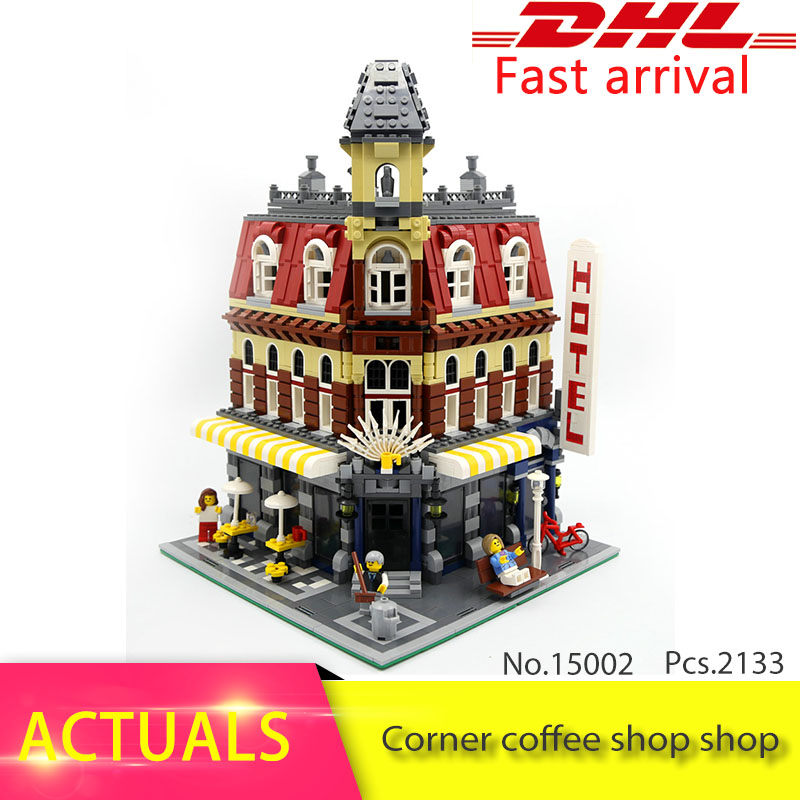 Lepin 15002 2133Pcs CREATOR  series Corner cafe Model Building Blocks Set  Bricks Toys For Educational Children day Gift 10182 lepin 15004 2313pcs city creator series fire brigade model building blocks bricks toys for children gift compatible 10197