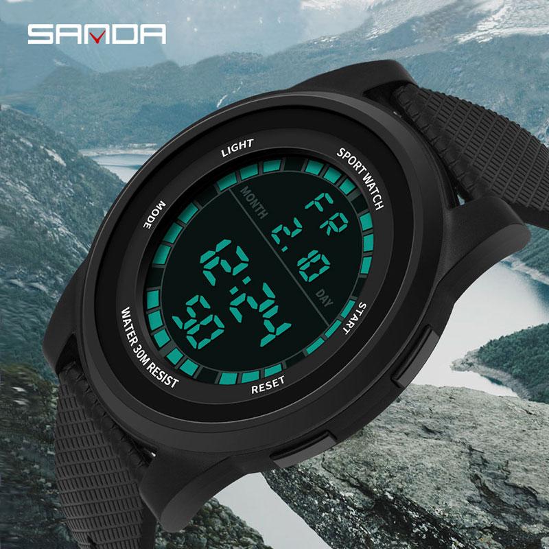 8227da4c9 SANDA relógio digital dos homens dos homens da marca à prova d  água LED  eletrônico relógio dos homens ultra-fino relógio esportivo militares relogio  ...