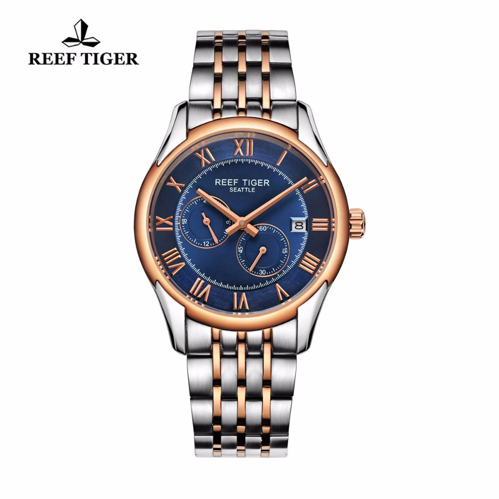 Reef Tiger New Design Fashion Automatic Watch Mens Business Sports Waterproof Date Rose Gold Steel Blue Dial Wrist Watches reef tiger rt new design fashion business mens watches with four hands and date automatic watch rose gold steel watches rga165 page 3