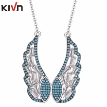 KIVN Fashion Jewelry Angel Wing Feather CZ Cubic Zirconia Womens Girls Wedding Bridal Pendant Necklaces Christmas Birthday Gifts