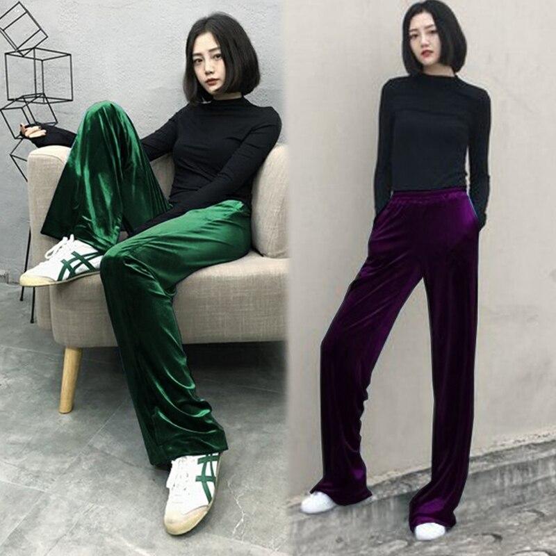 Livraison gratuite 2019 nouveau mode Long pantalon pour femmes pantalon grande taille S-4XL bleu large jambe européenne hiver velours noir pantalon