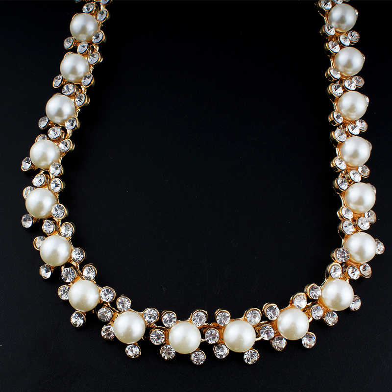 jiayijiaduo Hot fashion imitation pearl jewelry set for women gold-color wedding necklace earrings dress accessories