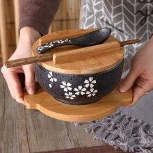 Japanese bowl Instant Noodles Tableware Dining room Salad Ceramic Bring Wooden Spoon Chopstick