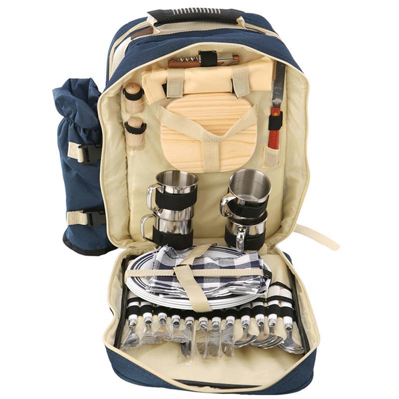 LumiParty 4 Person Picnic Portable Double Shoulder Bag Food Lunch Bag Waterproof Tableware Backpack Hamper Cooler bolsa termica