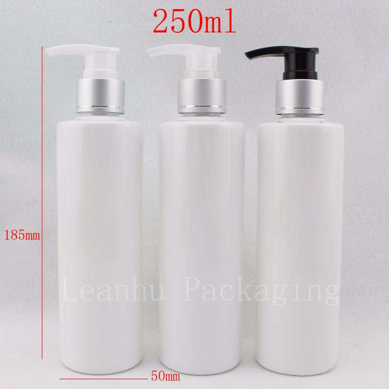250ml-white-bottle-with-silver-lotion-pump