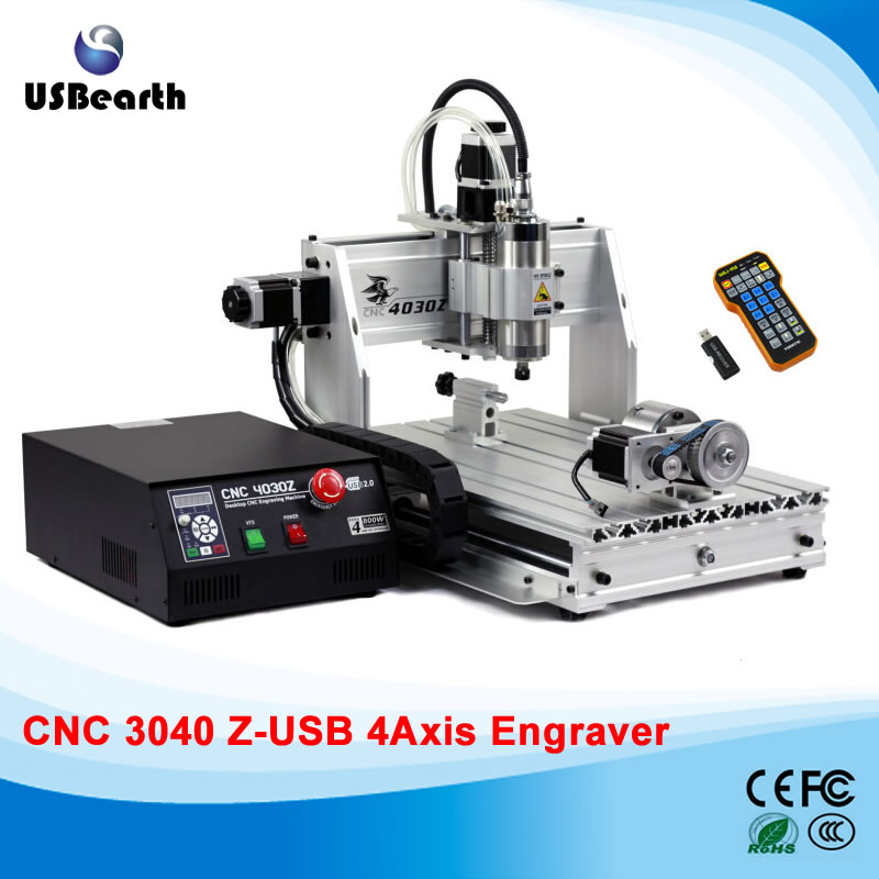 CNC Engraving machine 4030Z-800W USB 4axis with mach3 remote control and free gift handwheel  цены