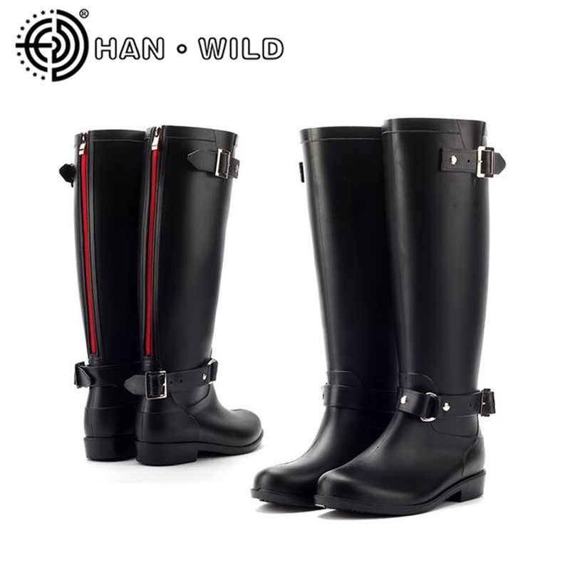 Punk Style Red Zipper Rain Boots Outdoor Rubber Water Shoes For Women Female Knee-High Motorcycle Boots Plus Size 36-41 hellozebra punk style tall boots women s pure color rain boots outdoor rubber water shoes for female 2017 new fashion design