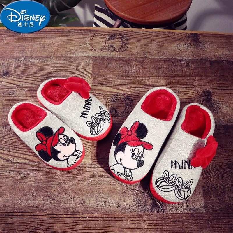 Disney Slippers Winter Shoes Non-slip Wool Shoes Girls Cute Indoor Soft Bottom Parent-child Big Children Cotton Drag Eu 22-39