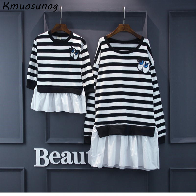 2019 Family Look Mother Daughter Dresses Mommy and Me Clothes Family Matching Shirts Big Eyes Pattern Cotton Ruffles Dress C0413