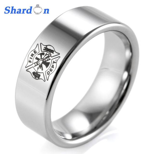 tungsten classic rings shardon men engagement ring firefighter p design wedding band carbide item outdoor shield pipe
