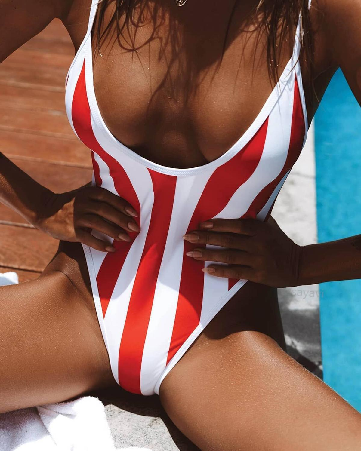 2019 red white monokini one-piece Swimsuit Bikinis striping Swimsuit Women bathing costume Sexy lady Tankini swimsuits swimwear