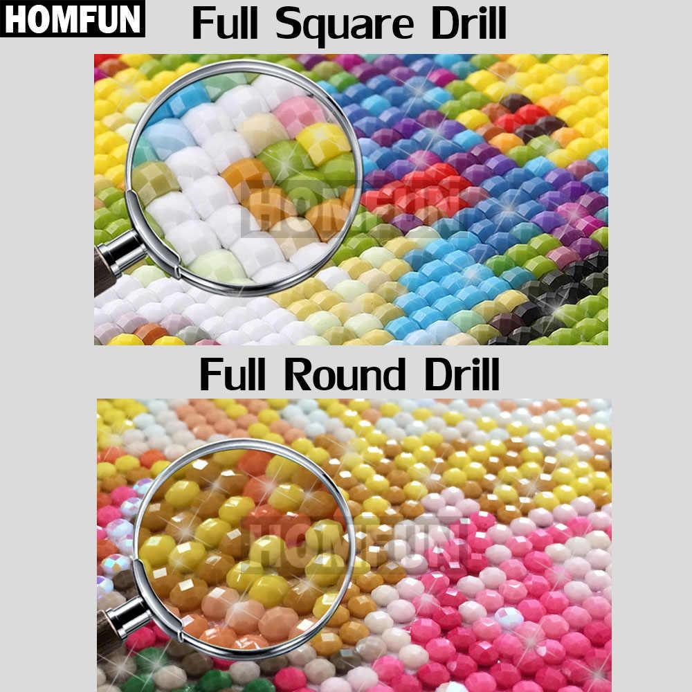 """HOMFUN كامل مربع/الحفر المستديرة 5D DIY بها بنفسك الماس اللوحة """"الكرتون القط القمر"""" ثلاثية الأبعاد التطريز عبر غرزة 5D ديكور هدية A18181"""