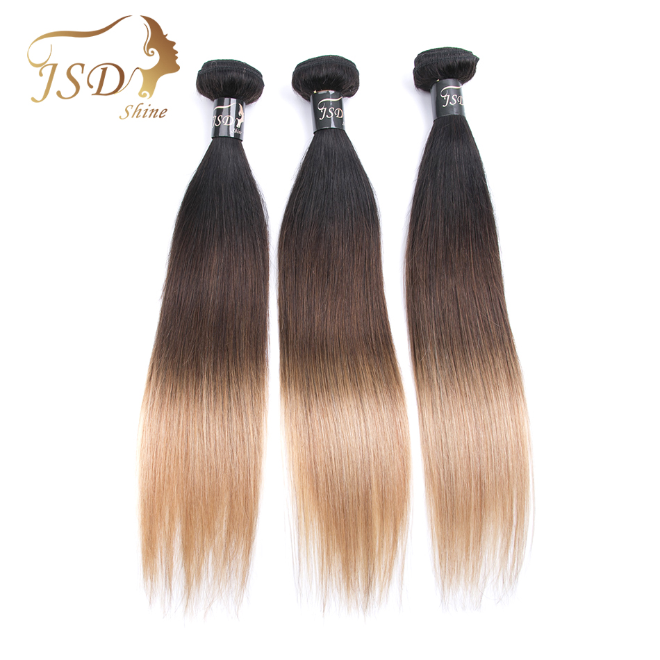 JSDShine Hair Pre-Colored Brazilian Straight Hair 1B/4/27 3 Tone Human Hair Weave 3 Bundles Non-Remy Human Hair Extensions