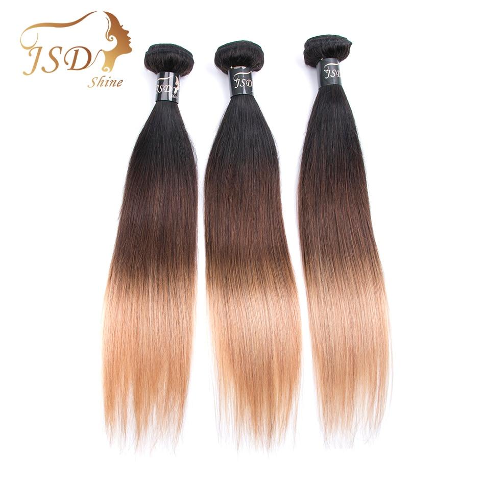 JSDShine Hair Pre-Colored Brazilian Straight Hair 1B/4/27 3 Tone Human Hair Weave 3 Bundles Non-Remy Human Hair Extensions