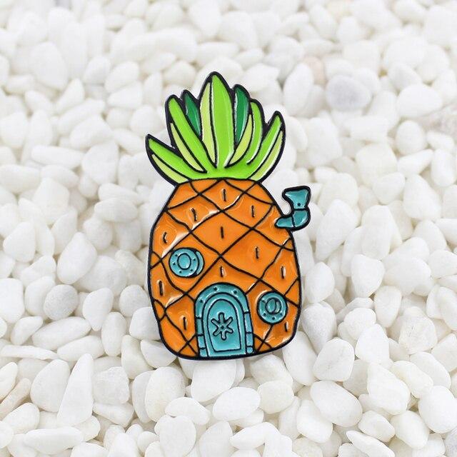 Rumah Nanas Enamel Pin SpongeBob Rumah Nanas Bros Indah Oranye Buah Rumah Lencana Hadiah untuk Anak-anak