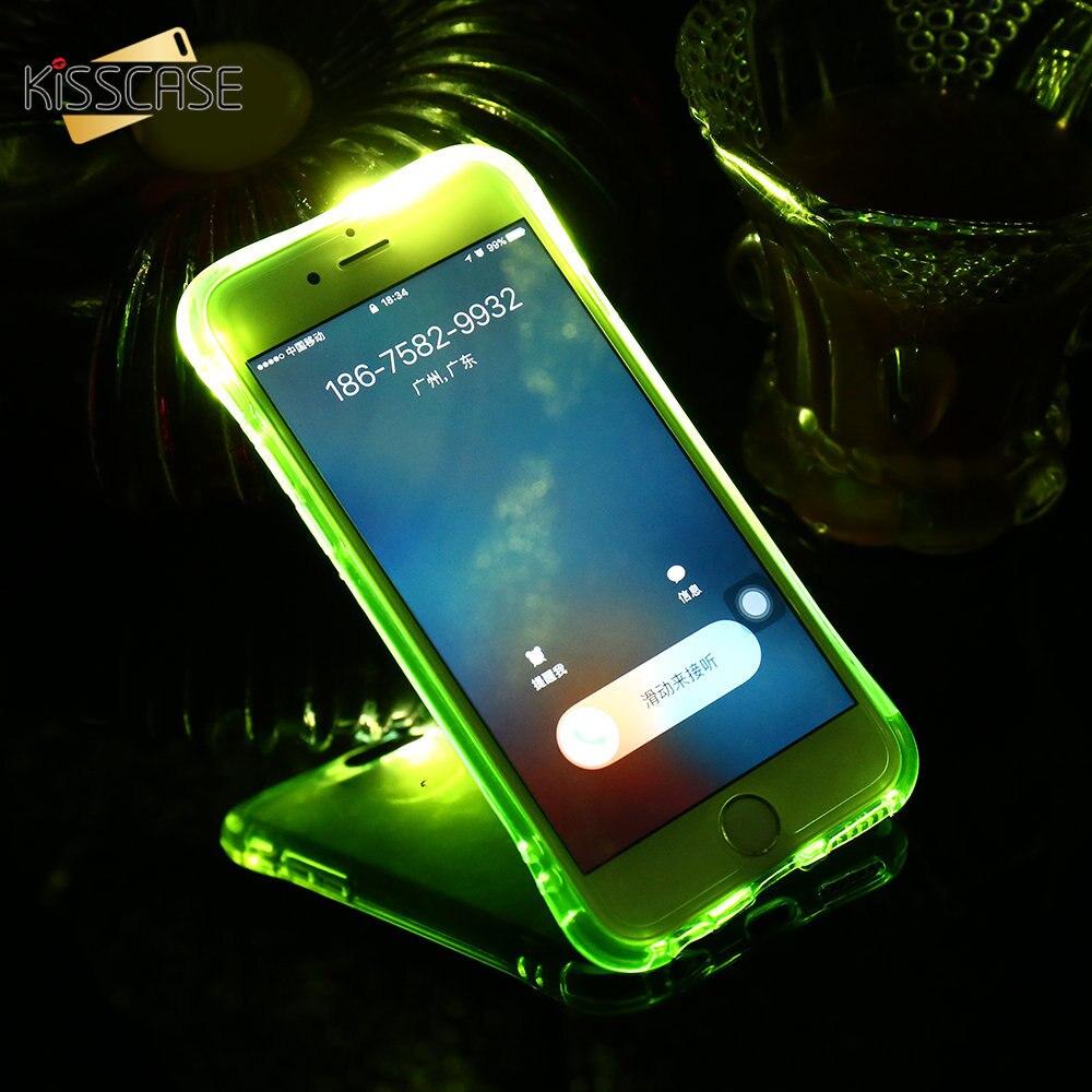 KISSCASE LED Light Flash Phone Case For iPhone 5S SE 6 6S 7 8 Plus Phone Case Transparent Drop Resistant Cover For iPhone 5s SE