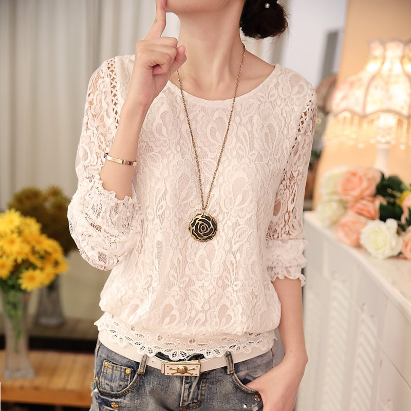 2019 fashion Summer White lace Women's clothing Long Sleeve Chiffon women   shirts     blouses   Blusas black Women's Tops   Blouse   51C 30